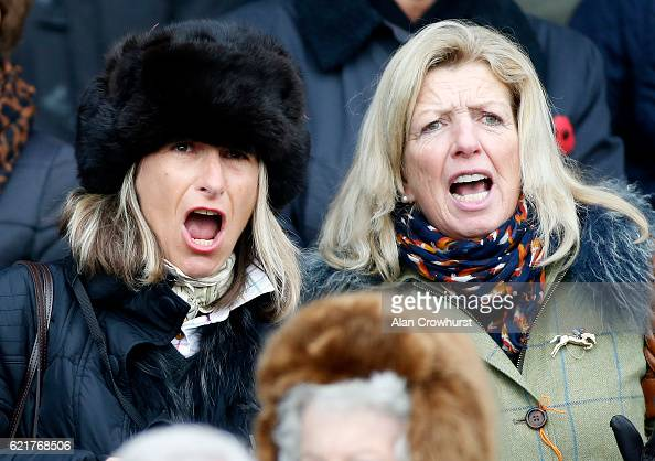 Owner Heather Haddock cheers on Adrian Heskin riding her horse Max Ward to win The Tom Jones Memorial HTJ Centre Ltd Steeple Chase at Huntingdon...