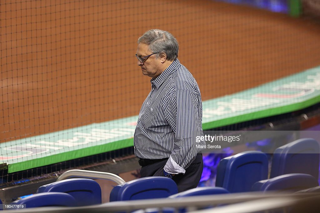 Owner Jeffrey Loria of the Miami Marlins walks to a seat against the Washington Nationals at Marlins Park on September 7, 2013 in Miami, Florida. The Nationals defeated the Marlins 9-2.