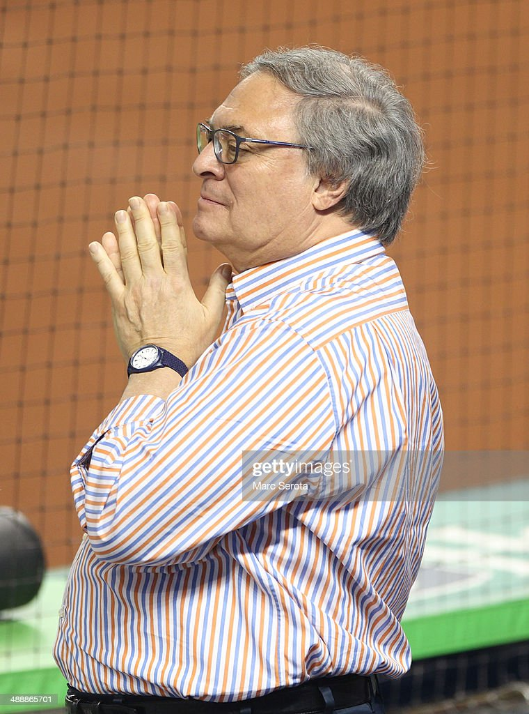 Owner <a gi-track='captionPersonalityLinkClicked' href=/galleries/search?phrase=Jeffrey+Loria&family=editorial&specificpeople=692109 ng-click='$event.stopPropagation()'>Jeffrey Loria</a> of the Miami Marlins watches his team prior to playing against the Los Angeles Dodgers at Marlins Park on May 3, 2014 in Miami, Florida. The Dodgers defeated the Marlins 9-7.