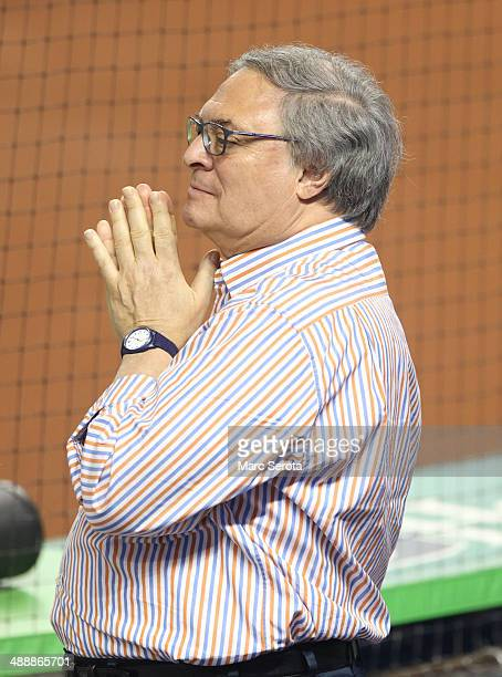 Owner Jeffrey Loria of the Miami Marlins watches his team prior to playing against the Los Angeles Dodgers at Marlins Park on May 3 2014 in Miami...