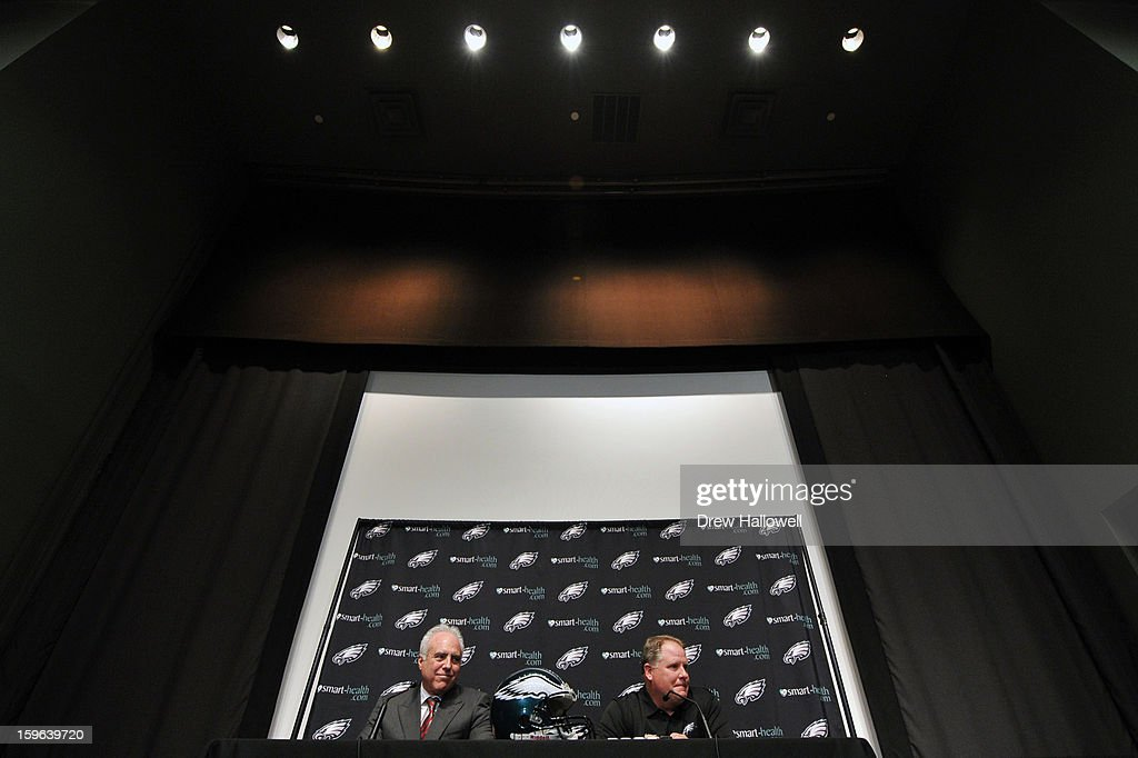 Owner Jeffrey Lurie (L) of the Philadelphia Eagles and new head coach Chip Kelly address the media at the NovaCare Complex on January 17, 2013 in Philadelphia, Pennsylvania.