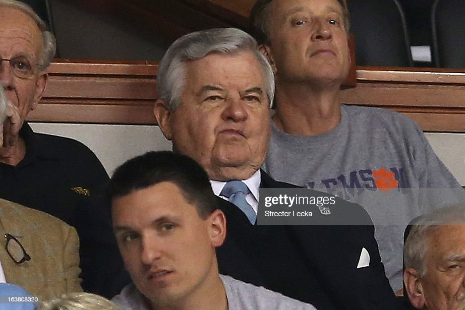 Owner Jerry Richardson of the NFL's Carolina Panthers watches the North Carolina Tar Heels take on the Maryland Terrapins during the men's ACC Tournament semifinals at Greensboro Coliseum on March 16, 2013 in Greensboro, North Carolina.