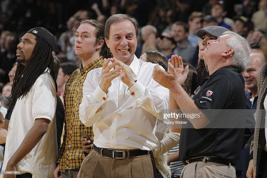 Owner Joe Lacob of the Golden State Warriors celebrates during the game against the Los Angeles Clippers on January 21, 2013 at Oracle Arena in Oakland, California.
