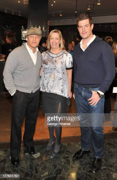 Owner John Allan President and CEO of The Bay Bonnie Brooks and 'Bachelor' Jesse Palmer attend the cocktail reception for the launch of John Allan's...