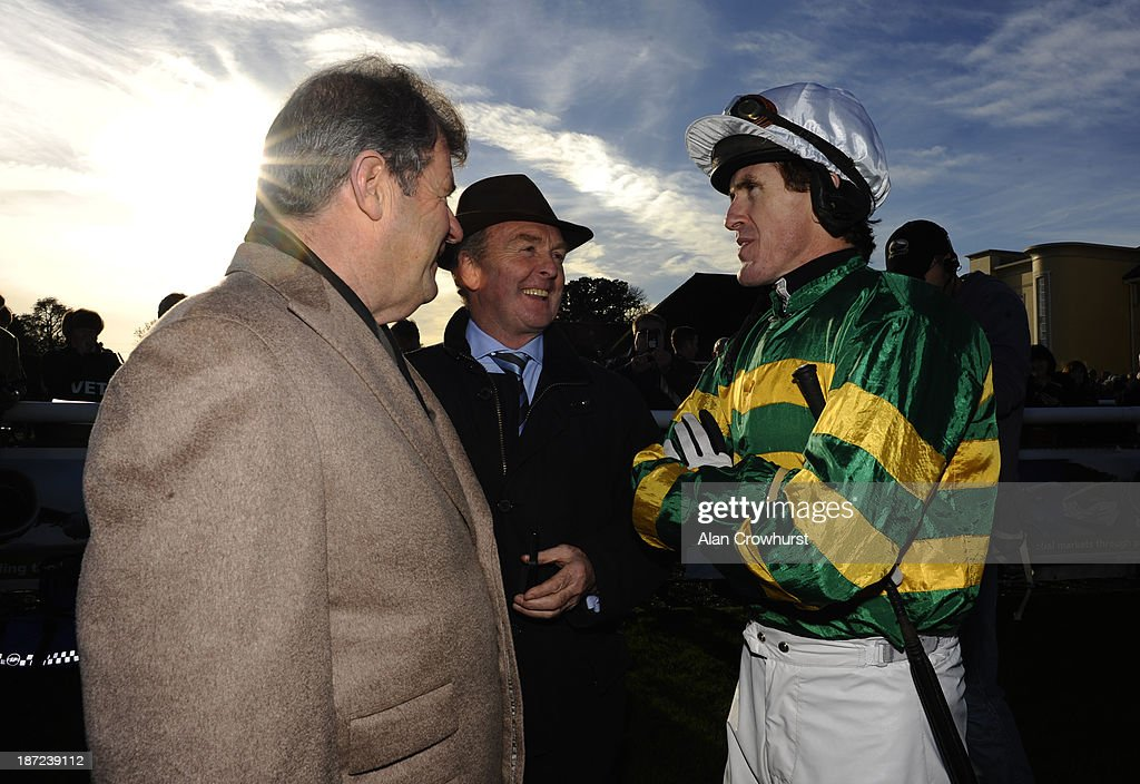 Owner <a gi-track='captionPersonalityLinkClicked' href=/galleries/search?phrase=JP+McManus&family=editorial&specificpeople=2325603 ng-click='$event.stopPropagation()'>JP McManus</a> (L) trainer <a gi-track='captionPersonalityLinkClicked' href=/galleries/search?phrase=Jonjo+O%27Neill+-+Horse+Trainer&family=editorial&specificpeople=14899369 ng-click='$event.stopPropagation()'>Jonjo O'Neill</a> (C) and Tony McCoy at Towcester racecourse on November 07, 2013 in Towcester, England.