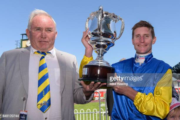 Owner Kim Renner with Brad Rawiller after Black Heart Bart won the italktravel Futurity Stakes at Caulfield Racecourse on February 25 2017 in...