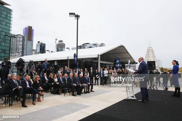 NBL owner Larry Kestelman speaks during the 2017/18 NBL and WNBL Season Launch at Crown Towers on September 11 2017 in Melbourne Australia