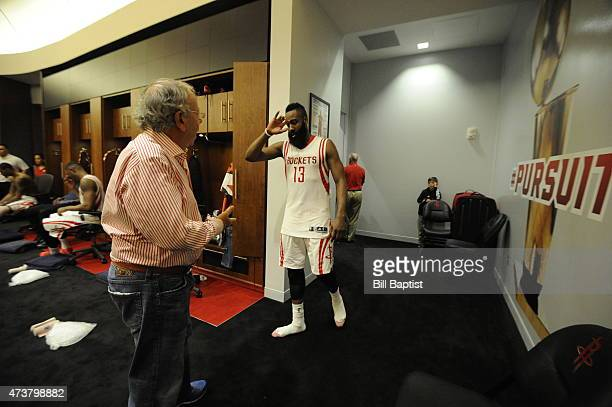Owner Leslie Alexander and James Harden of the Houston Rockets celebrate after the win against the Los Angeles Clippers in Game Seven of the Western...