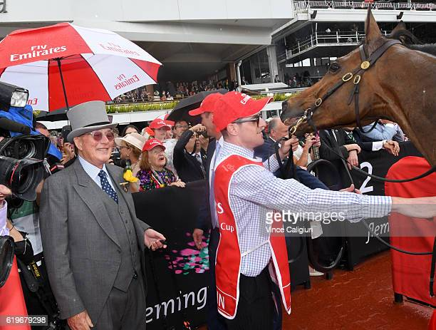 Owner Lloyd Williams after Almandin won Race 7 the Emirates Melbourne Cup on Melbourne Cup Day at Flemington Racecourse on November 1 2016 in...