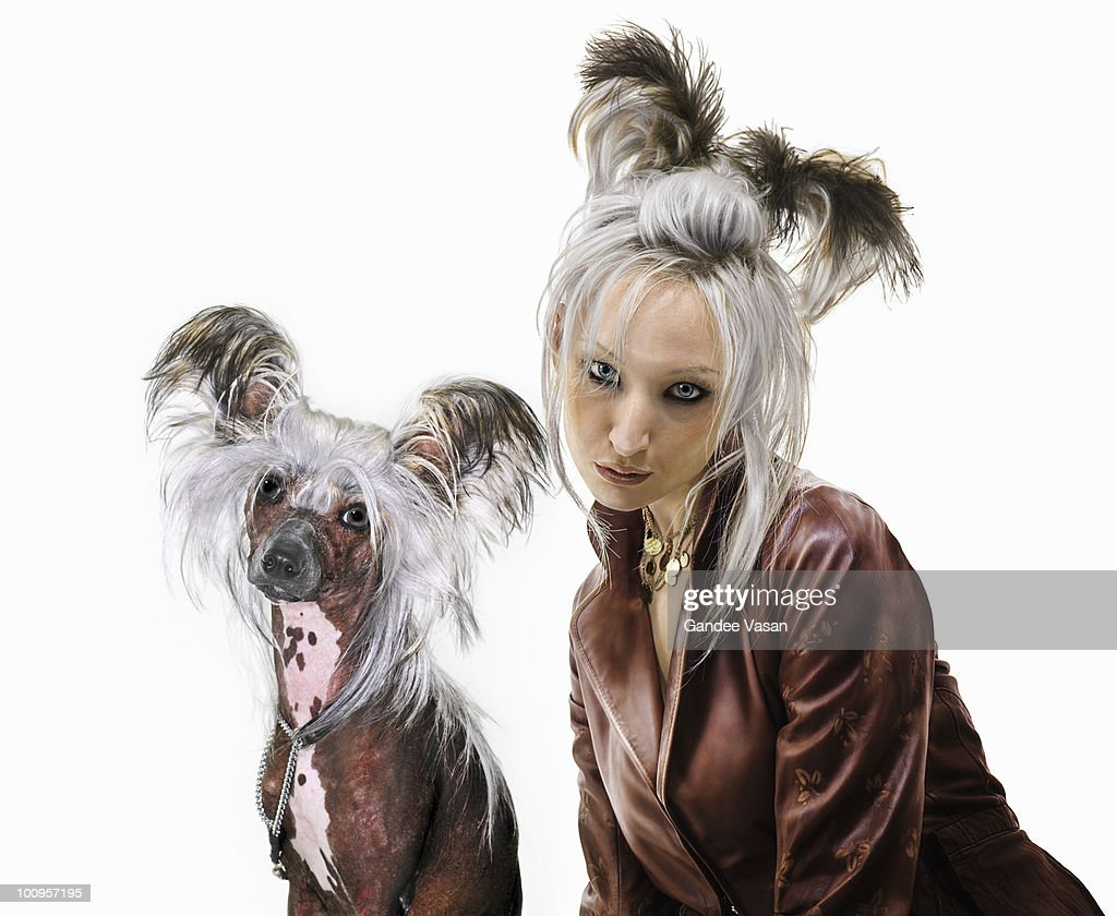 Owner looking like pet : Stock-Foto
