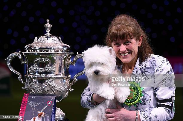 Owner Marie Burns reacts as Burneze Geordie Girl is awarded Best In Show at Crufts Dog Show 2016 on March 13 2016 in Birmingham England First held in...