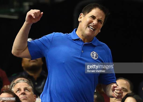 Owner Mark Cuban of the Dallas Mavericks reacts during play against the Chicago Bulls at American Airlines Center on January 23 2015 in Dallas Texas...