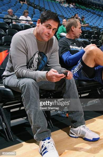 Owner Mark Cuban of the Dallas Mavericks sits courtside prior to the game against the Minnesota Timberwolves on November 1 2008 at the Target Center...