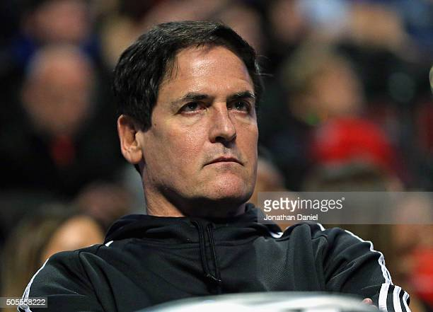 Owner Mark Cuban of the Dallas Mavericks watces as his team takes on the Chicago Bulls at the United Center on January 15 2016 in Chicago Illinois...