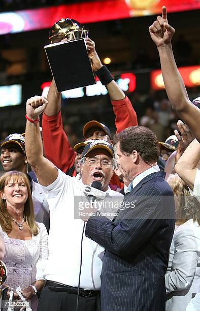 Owner Mickey Arison of the Miami Heat celebrates after the Heat defeated the Dallas Mavericks in game six of the 2006 NBA Finals on June 20 2006 at...