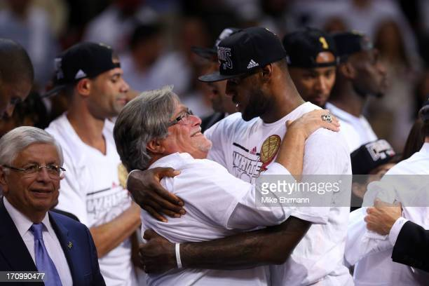 Owner Micky Arison and LeBron James of the Miami Heat celebrate after defeating the San Antonio Spurs 9588 to win Game Seven of the 2013 NBA Finals...