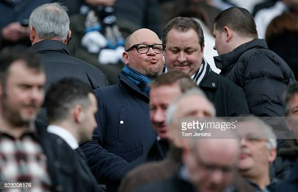 Owner Mike Ashley gets to his seat behind his managing director Lee Charnley during the Newcastle United v Aston Villa FA Premier League match at St...