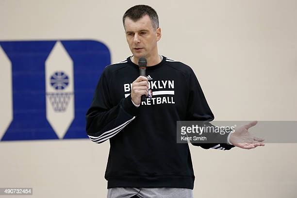 Owner Mikhail Prokhorov of the Brooklyn Nets addresses the team during preseason training camp at Duke University on September 30 2015 in Durham...