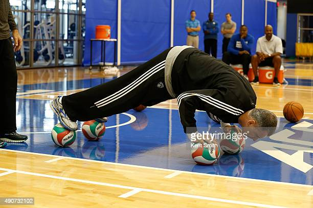 Owner Mikhail Prokhorov of the Brooklyn Nets displays some drills during preseason training camp at Duke University on September 30 2015 in Durham...