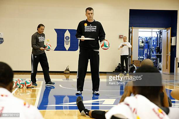 Owner Mikhail Prokhorov of the Brooklyn Nets goes over some drills during preseason training camp at Duke University on September 30 2015 in Durham...