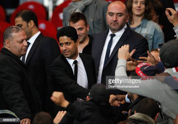 PSG owner Nasser AlKhelaifi celebrates after the Ligue 1 match between Paris SaintGermain FC and Stade Rennais FC at Parc des Princes on May 7 2014...
