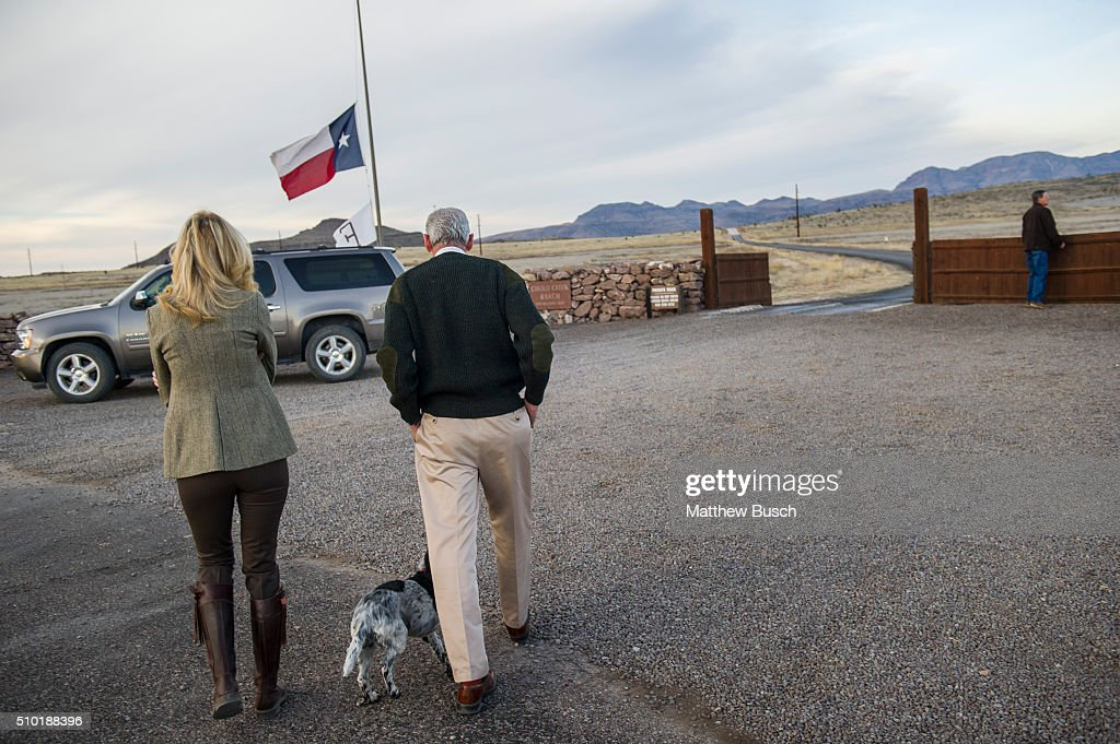 Owner of Cibolo Creek Ranch John Poindexter, second left, walks back to his vehicle speaks to reporters the day following the death Supreme Court Justice Antonin Scalia at the West Texas Resort ranch February 14, 2016 in Shafter, Texas. Poindexter says that he, along with the other members of the weekend's group had an enjoyable evening on Friday before Scalia was found the next morning to be unresponsive in his room.