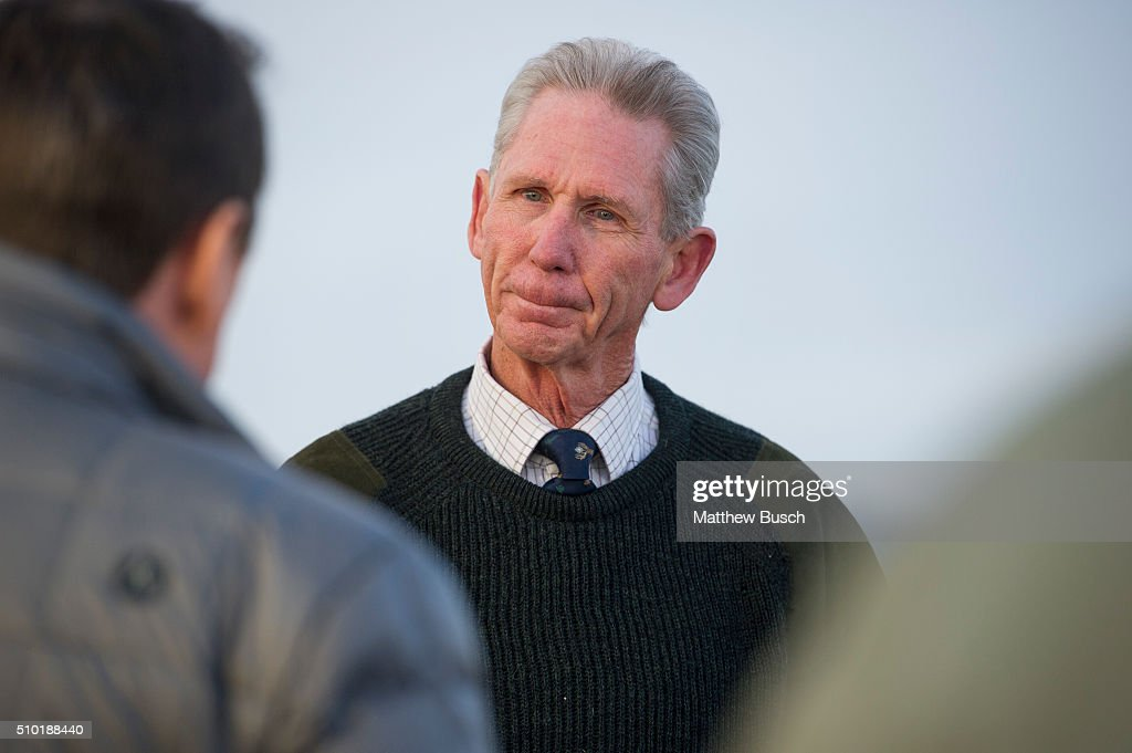 Owner of Cibolo Creek Ranch John Poindexter speaks to reporters the day following the death Supreme Court Justice Antonin Scalia at the West Texas Resort ranch February 14, 2016 in Shafter, Texas. Poindexter says that he, along with the other members of the weekend's group had an enjoyable evening on Friday before Scalia was found the next morning to be unresponsive in his room.