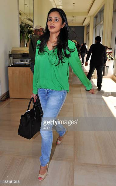 Owner of Deccan Chargers Gayathri Reddy arrives for the players' auction for the fifth edition of the Indian Premier League cricket in Bangalore on...