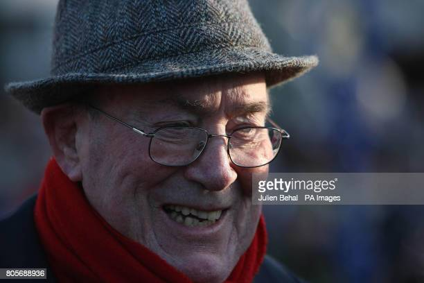 Owner of Golden Silver Archie O' Leary smiles after victory in the Paddy Power DialABet Steeplechase during the Christmas Festival at Leopardstown...