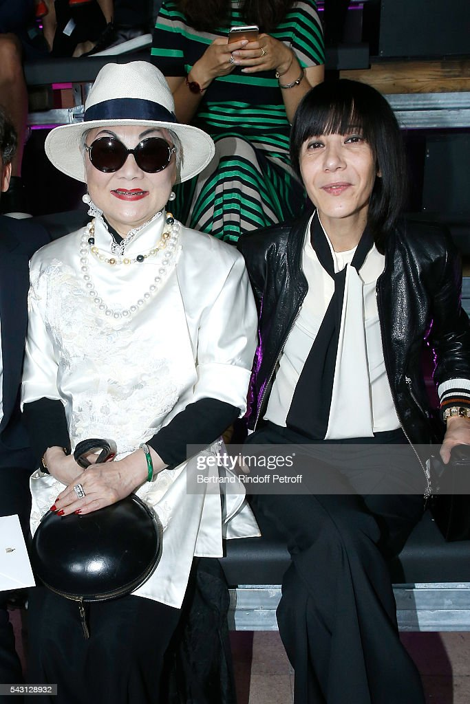 Owner of Lanvin Shaw Lan Wang and Artistic Director and Stylist of Lanvin Women, Bouchra Jarrar attend the Lanvin Menswear Spring/Summer 2017 show as part of Paris Fashion Week on June 26, 2016 in Paris, France.