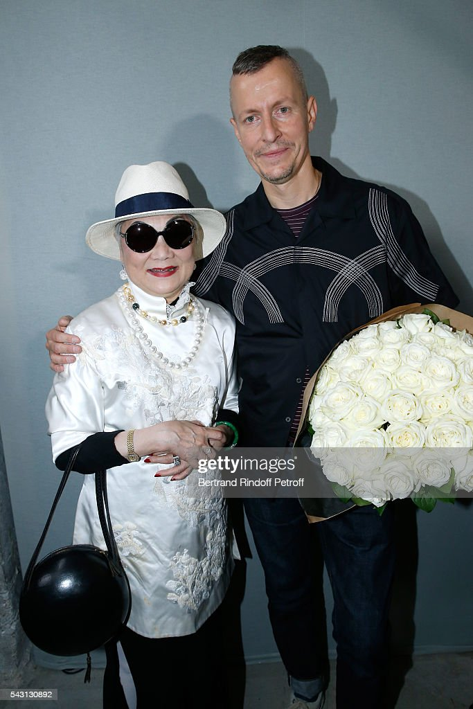 Owner of Lanvin Shaw Lan Wang and Stylist <a gi-track='captionPersonalityLinkClicked' href=/galleries/search?phrase=Lucas+Ossendrijver&family=editorial&specificpeople=5531949 ng-click='$event.stopPropagation()'>Lucas Ossendrijver</a> attend the Lanvin Menswear Spring/Summer 2017 show as part of Paris Fashion Week on June 26, 2016 in Paris, France.