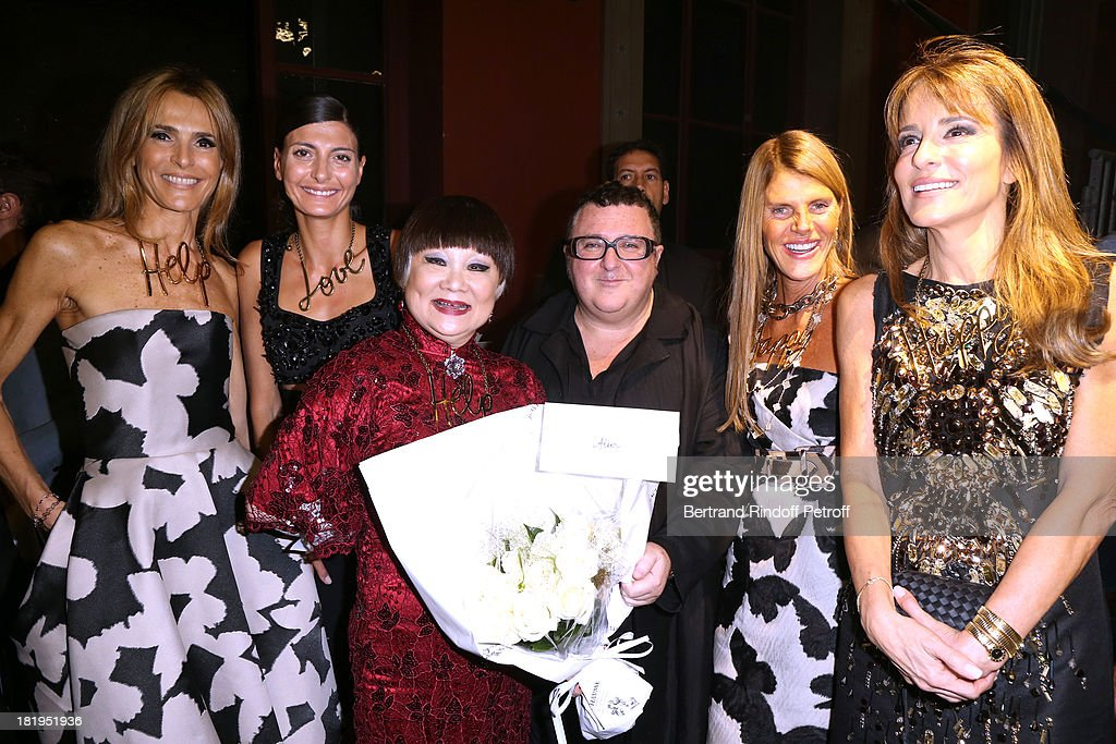Owner of Lanvin, Shaw Lan Wang (3rd L), Fashion Designer <a gi-track='captionPersonalityLinkClicked' href=/galleries/search?phrase=Alber+Elbaz&family=editorial&specificpeople=783481 ng-click='$event.stopPropagation()'>Alber Elbaz</a> (3rd R), Journalist Anna Dello Russ (2nd R), Patricia d'Arenberg (1stR) with her sister Rossella d'Arenberg (1st L) and Guest (2nd L) after Lanvin show as part of the Paris Fashion Week Womenswear Spring/Summer 2014, held at 'Ecole des beaux Arts' on September 26, 2013 in Paris, France.