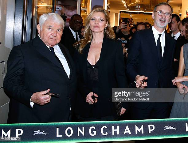 Owner of Longchamp Philippe Cassegrain Model Kate Moss and General Director of Longchamp Jean Cassegrain attend the Longchamp Elysees 'Lights On...