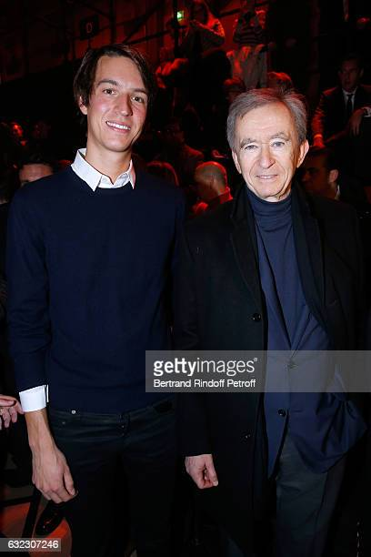 Owner of LVMH Luxury Group Bernard Arnault and his son Alexandre Arnault attend the Dior Homme Menswear Fall/Winter 20172018 show as part of Paris...