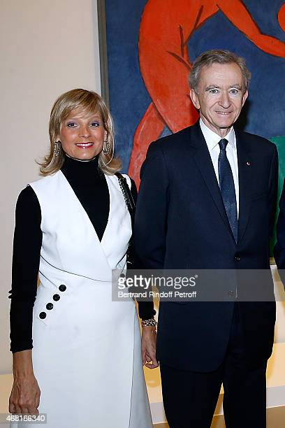 Owner of LVMH Luxury Group Bernard Arnault and his wife Helene Arnault attend the 'Les Clefs d'une Passion' Exhibition Preview Held at Fondation...