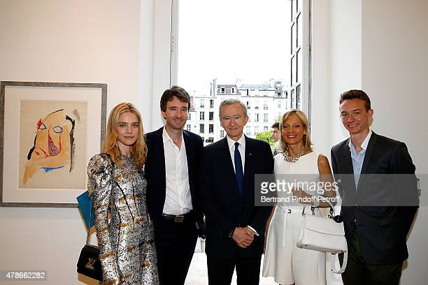 Owner of LVMH Luxury Group Bernard Arnault his wife Helene Arnault his son General manager of Berluti Antoine Arnault Model Natalia Vodianova and his...