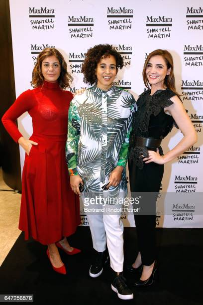 Owner of Max Mara Maria Giulia Maramotti Artist Shantell Martin and Princess of Savoy Clotilde Courau attend the Max Mara 'Prism in Motion' Eventas...