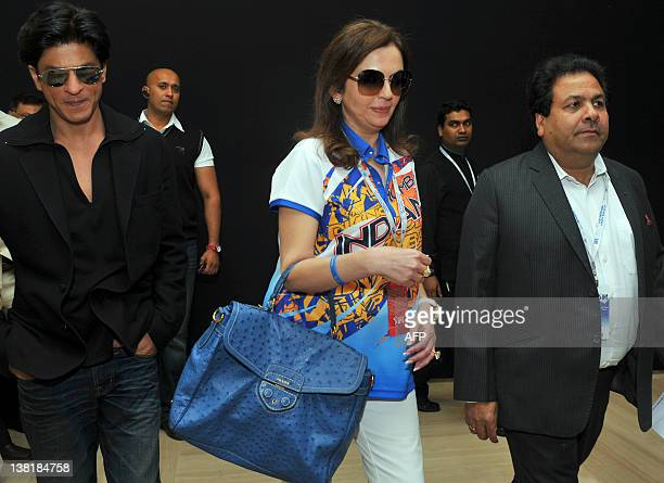 Owner of Mumbai Indians Neeta Ambani Bollywood actor and owner of Kolkata Knight Riders Shah Rukh Khan and IPL Chairman Rajiv Shukla arrive for a...