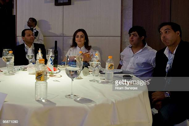 Owner of Mumbai Indians team Nita Ambani and Robin Singh of Mumbai Indians team attend the Indian Premier League Auction 2010 on January 19 2010 in...
