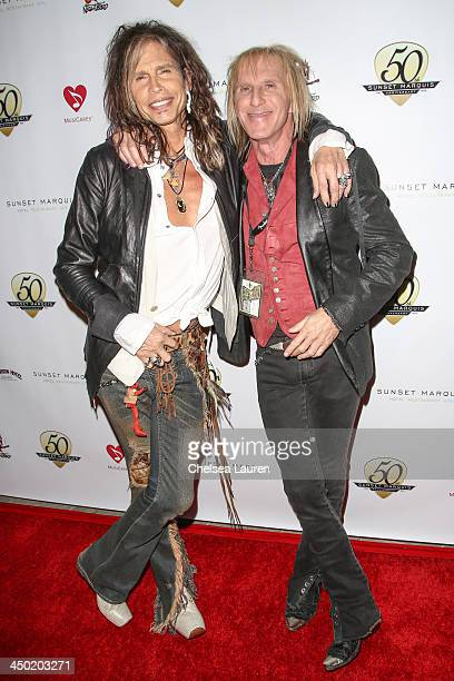 Owner of Nightbird studios Jed Leiber and musician Steven Tyler arrive at the Sunset Marquis Hotel 50th anniversary birthday bash at Sunset Marquis...