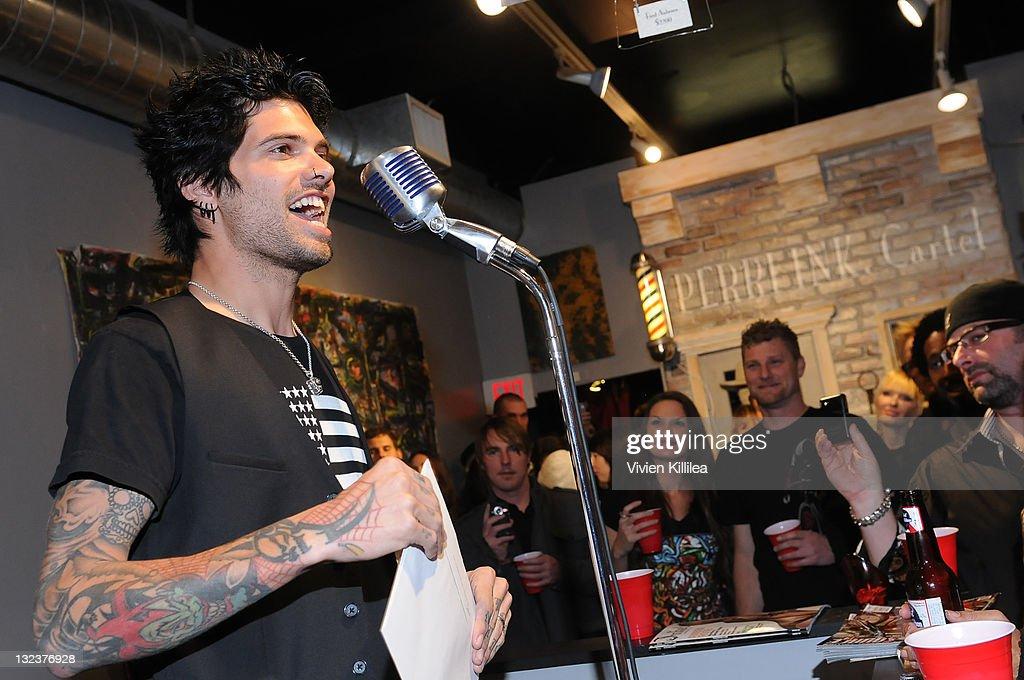 Owner of Perri Ink Nick Perri speaks at the PERRI INK. Cartel Store Opening on November 11, 2011 in Los Angeles, California.
