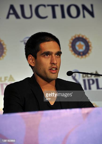 Owner of Royal Challengers Bangalore Siddarth Mallya addresses a press conference ahead of the players' auction for the fifth edition of the Indian...