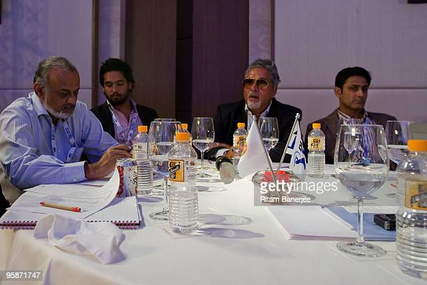 Owner of Royal Challengers Bangalore team Vijay Mallya and Captain Anil Kumble attend the Indian Premier League Auction 2010 on January 19 2010 in...