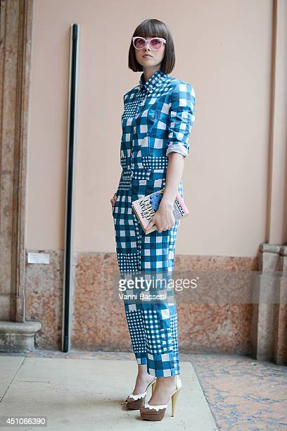 Owner of Secret Location Carey Melinchuk is seen wearing a House of Holland outfit Olympia Le Tan clutch and Charlotte Olympia shoes before Vivienne...