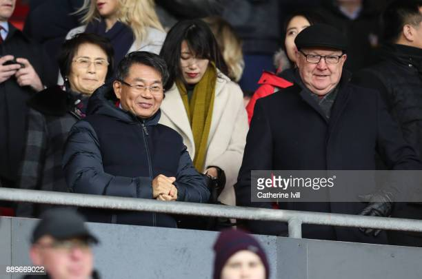 Owner of Southampton Gao Jisheng and head of football development Les Reed during the Premier League match between Southampton and Arsenal at St...