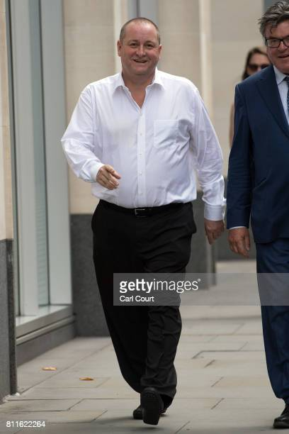 Owner of Sports Direct and Newcastle United Mike Ashley arrives at the High Court on July 10 2017 in London England Mr Ashley is defending himself...