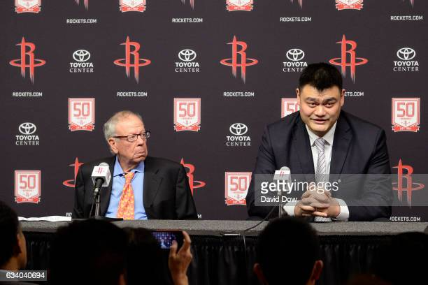 Owner of the Houston Rockets Leslie Alexander and NBA Legend Yao Ming speak to the media during a press conference before the Chicago Bulls game...