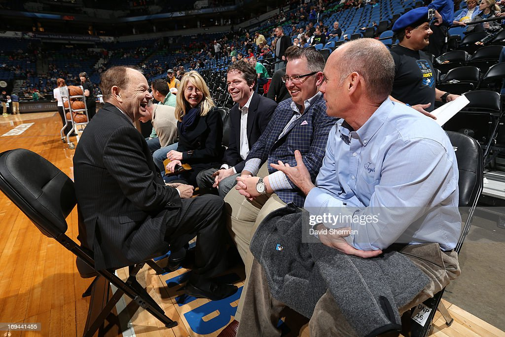 Owner of the Minnesota Timberwolves Glen Taylor speaks with fans prior to the game on April 13, 2013 at Target Center in Minneapolis, Minnesota.