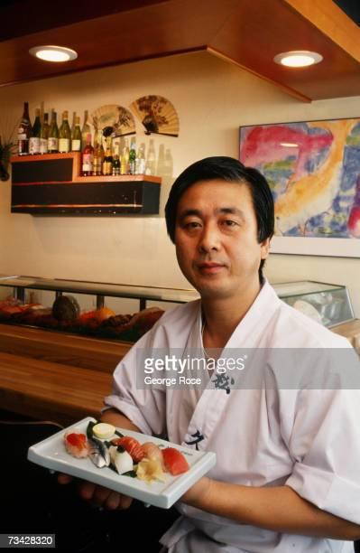 Owner of the popular celebrity sushi restaurant Matsuhisa Nobuyuki Matsuhisa poses in a 1988 Los Angeles California photo portrait session