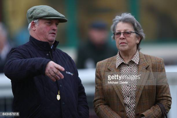 Owner of Thistlecrack Heather Snook alongside trainer Colin Tizzard look on from the parade ring at Taunton Racecourse on February 21 2017 in Taunton...